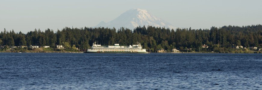 Washington Stae Ferry with Mount Rainier in the background
